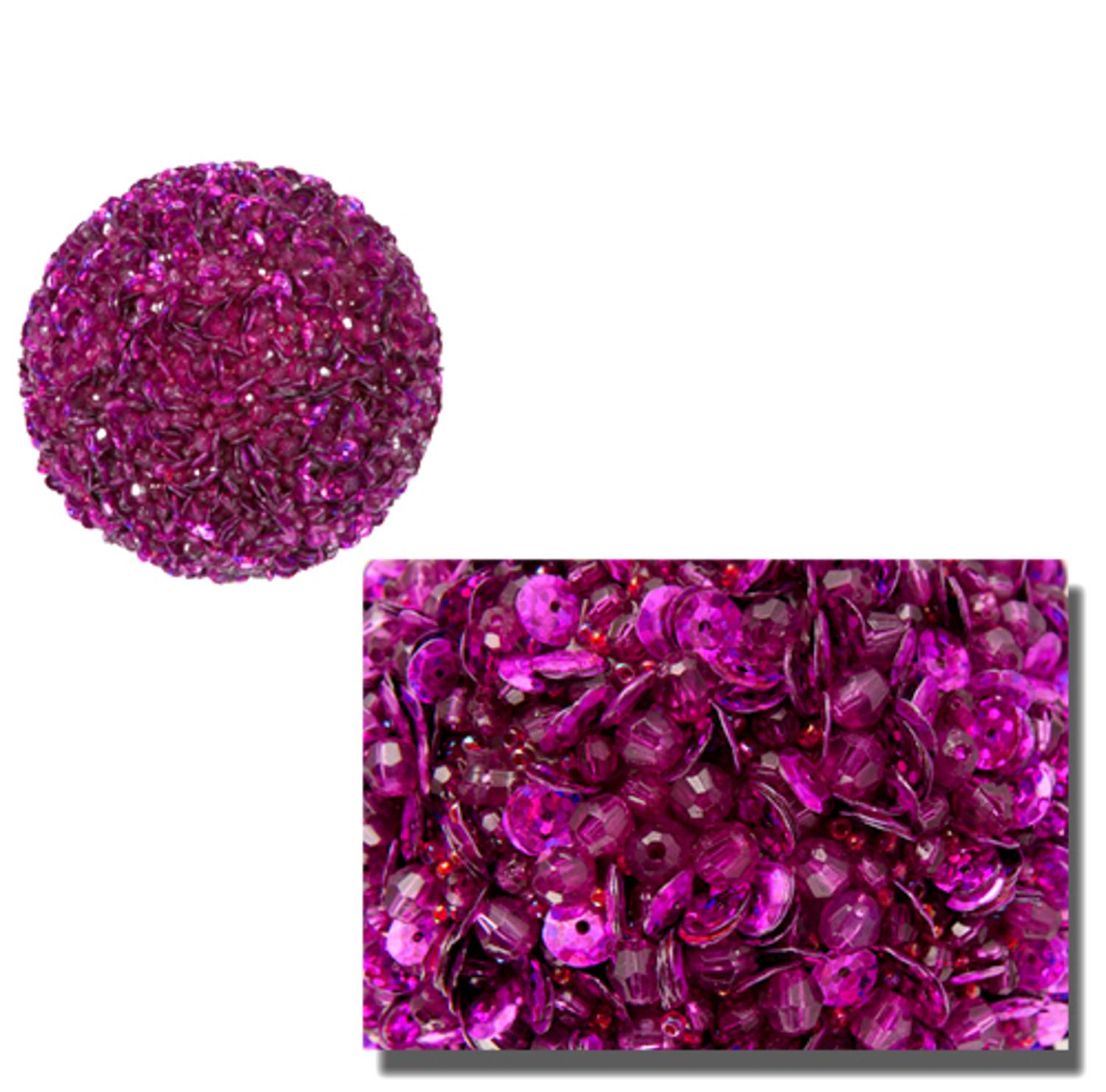 "Lavish Fuchsia Pink Fully Sequined & Beaded Christmas Ball Ornament 3.5"" (90mm)"