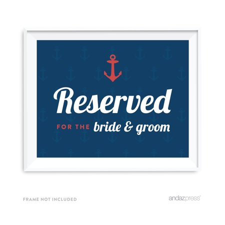 Reserved For The Bride & Groom Nautical Ocean Adventure Wedding Party Signs](The Bride Is Coming Sign)