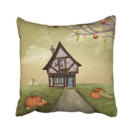 Halloween Fantasy Art (WinHome Decorative Pillowcases Halloween Haunted Cottage Fantasy Art Throw Pillow Covers Cases Cushion Cover Case Sofa 18x18 Inches Two)