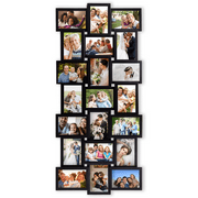 Photo Frame 17x39 Black Picture Frame Selfie Gallery Collage Wall Hanging for 6x4 Photo - 21 Photo Sockets - Wall Mounting Design
