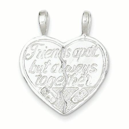 Sterling Silver Best Friend 2-piece break apart Heart Charm QC607 (27mm x 11mm) - image 1 de 3