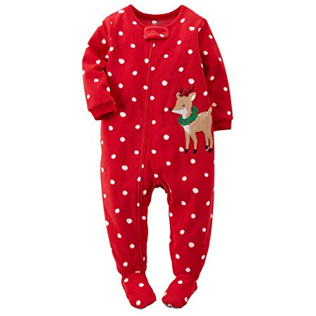 Girls Fleece Pjs (Carter's Little Girls' 1-piece Fleece Christmas Pjs (5, Red)