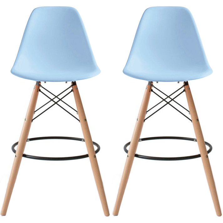 "2xhome - Blue 25"" Seat Height Countertop Plastic Eiffel Natural Wood Bar Stool With Back Rest"