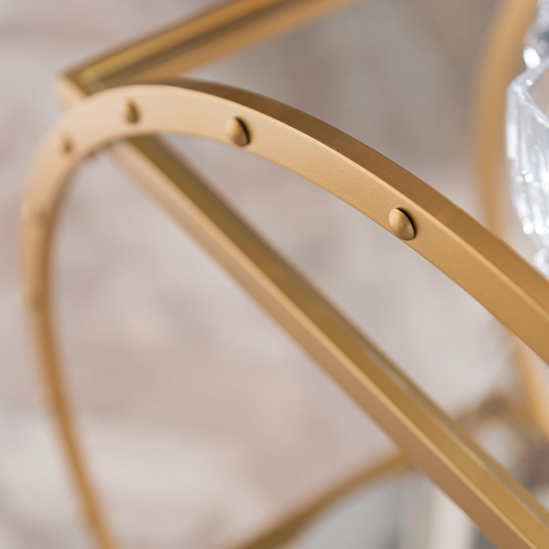 Edwin Art Deco Glam Round Bar Cart Soft Gold By Ember Interiors Walmart Com Walmart Com