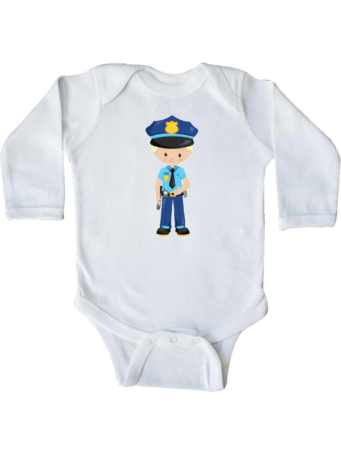 Policeman Police Uniform Long Sleeve Creeper Brown Hair inktastic Cute Boy