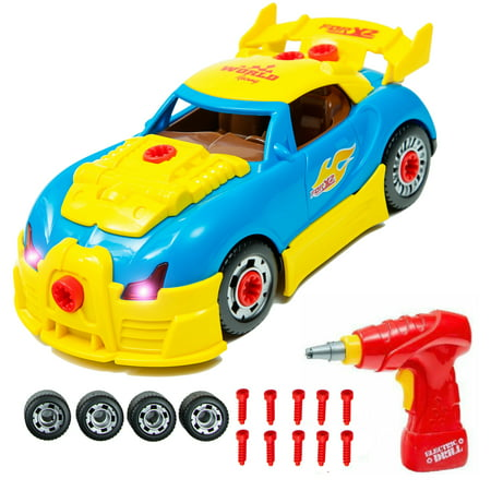 Racing Car Take-A-Part Toy for Kids with 30 Take Apart Pieces, Tool Drill, Lights and Sounds (Blue)