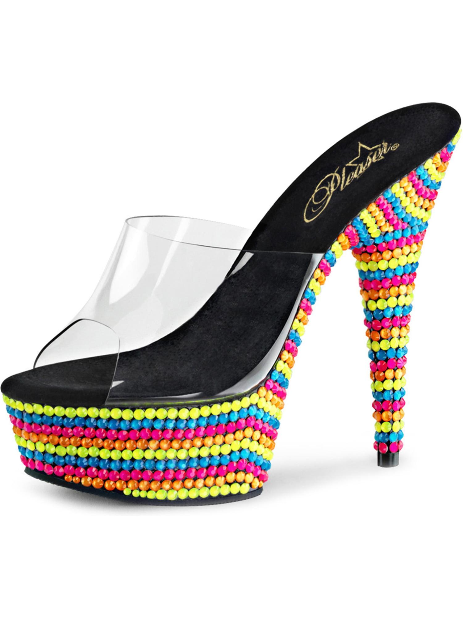 Womens Rainbow Sandals Neon UV Reactive Stones Platform Slides 6 Inch Heels