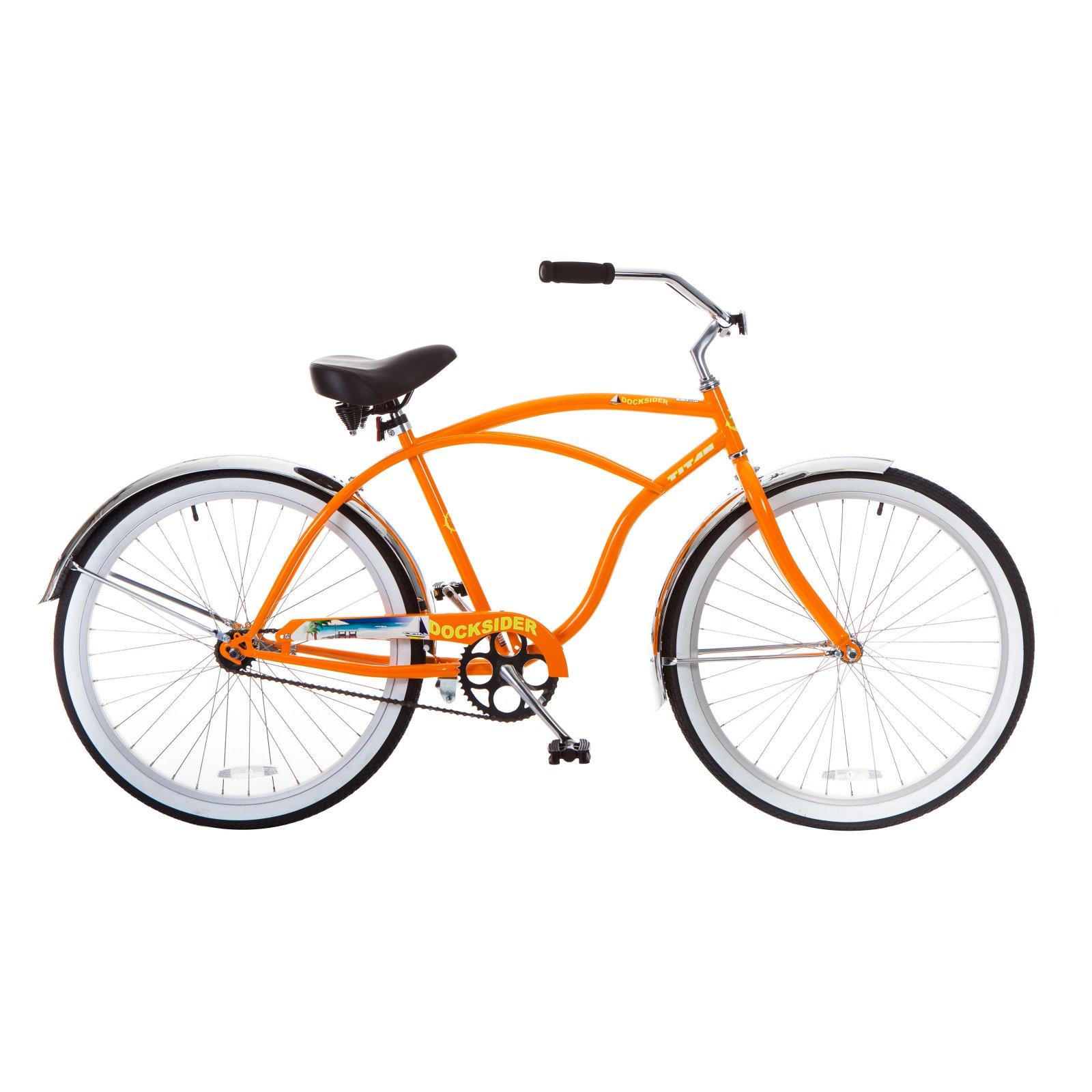"TITAN Docksider Mens Beach Cruiser Single-Speed Bicycle, 18"" Frame, 26"" Wheels, Tangerine"