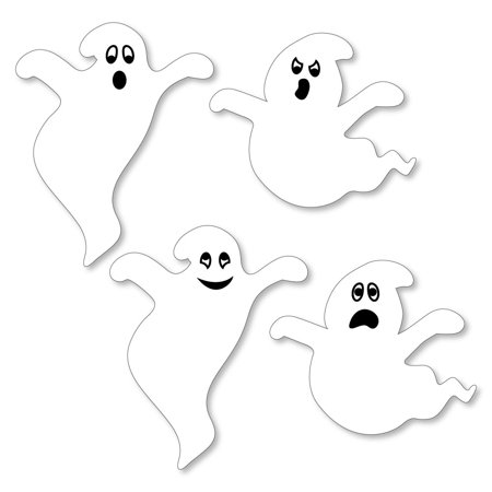 Spooky Ghost - Shaped Halloween Party Cut-Outs - 24 Count