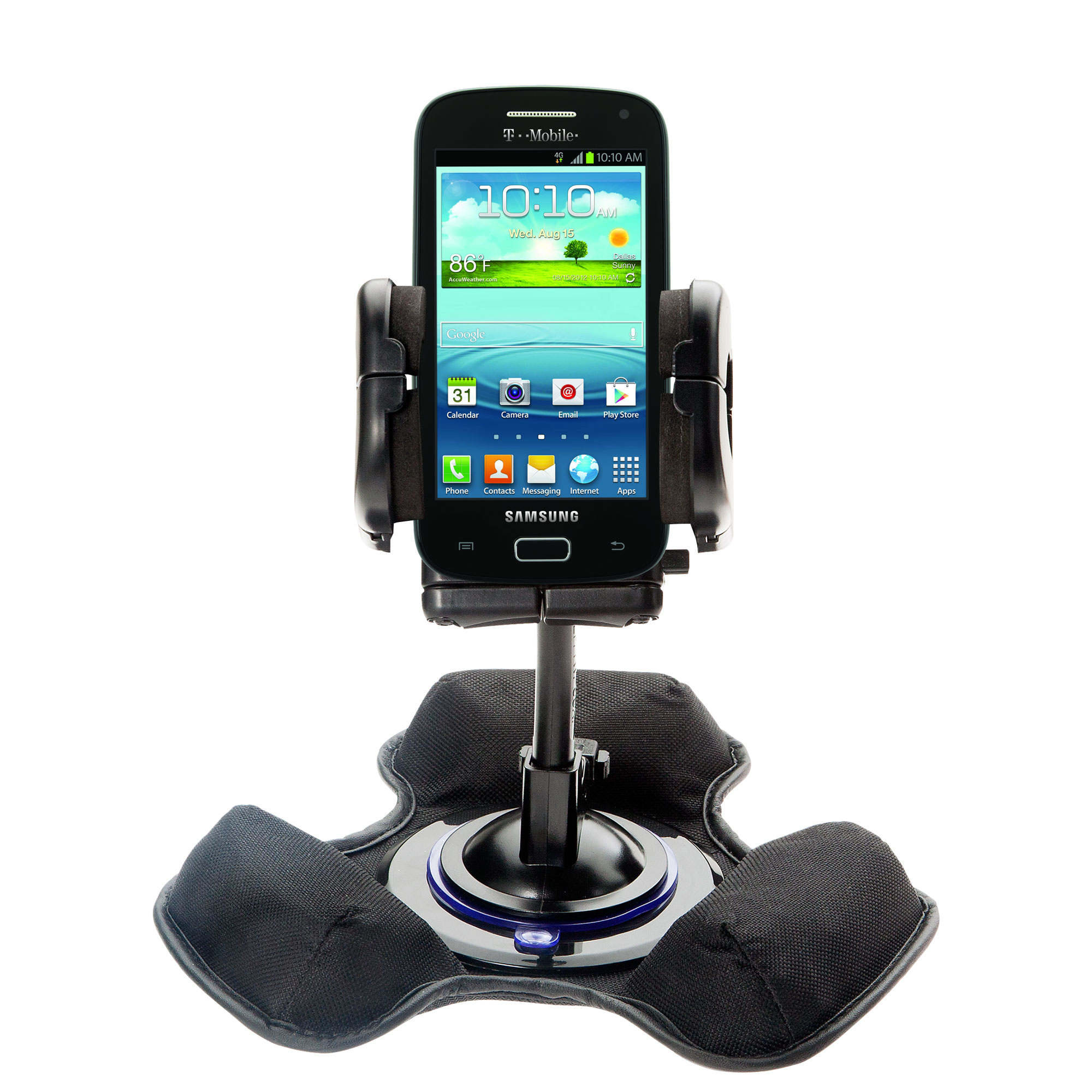 Car / Truck Vehicle Holder Mounting System for Samsung Galaxy S Relay Includes Unique Flexible Windshield Suction and Universal Dashboard Mount Option