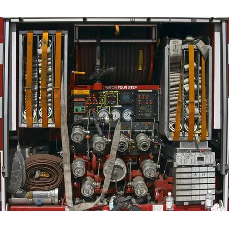 Wallmonkeys Fire Truck Peel and Stick Wall Decals Mural WM331340 (18 in W x 15 in H) ()
