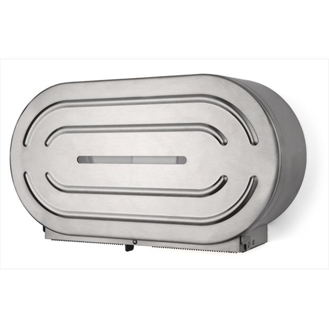 E-Z Taping System RD0327-09F 9 in. Twin Jumbo Tissue Dispenser in Stainless Steel