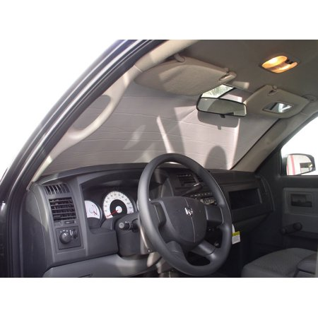 The Original Windshield Sun Shade, Custom-Fit for Dodge Dakota Truck (Crew Cab) 2005, 2006, 2007, 2008, 2009, 2010, 2011, Silver (2009 Dodge Dakota Sxt Crew Cab 4wd)