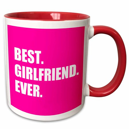 3dRose Best Girlfriend Ever text on hot pink anniversary valentines day gift - Two Tone Red Mug,