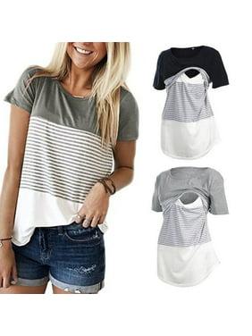 b4f5bba091d68 Product Image Women Short Sleeve Cotton Maternity Clothes Breastfeeding T-shirt  Nursing Top