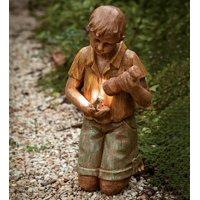 Solar Garden Statue Boy with Flashlight & Frog
