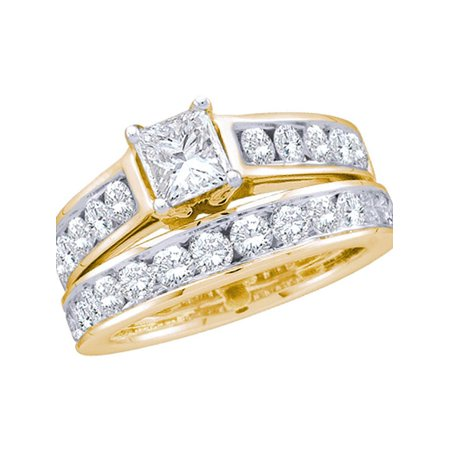 14k Yellow Gold Womens Princess Diamond Solitaire Wedding Bridal Engagement Ring Set 1.00 Cttw - image 1 de 1