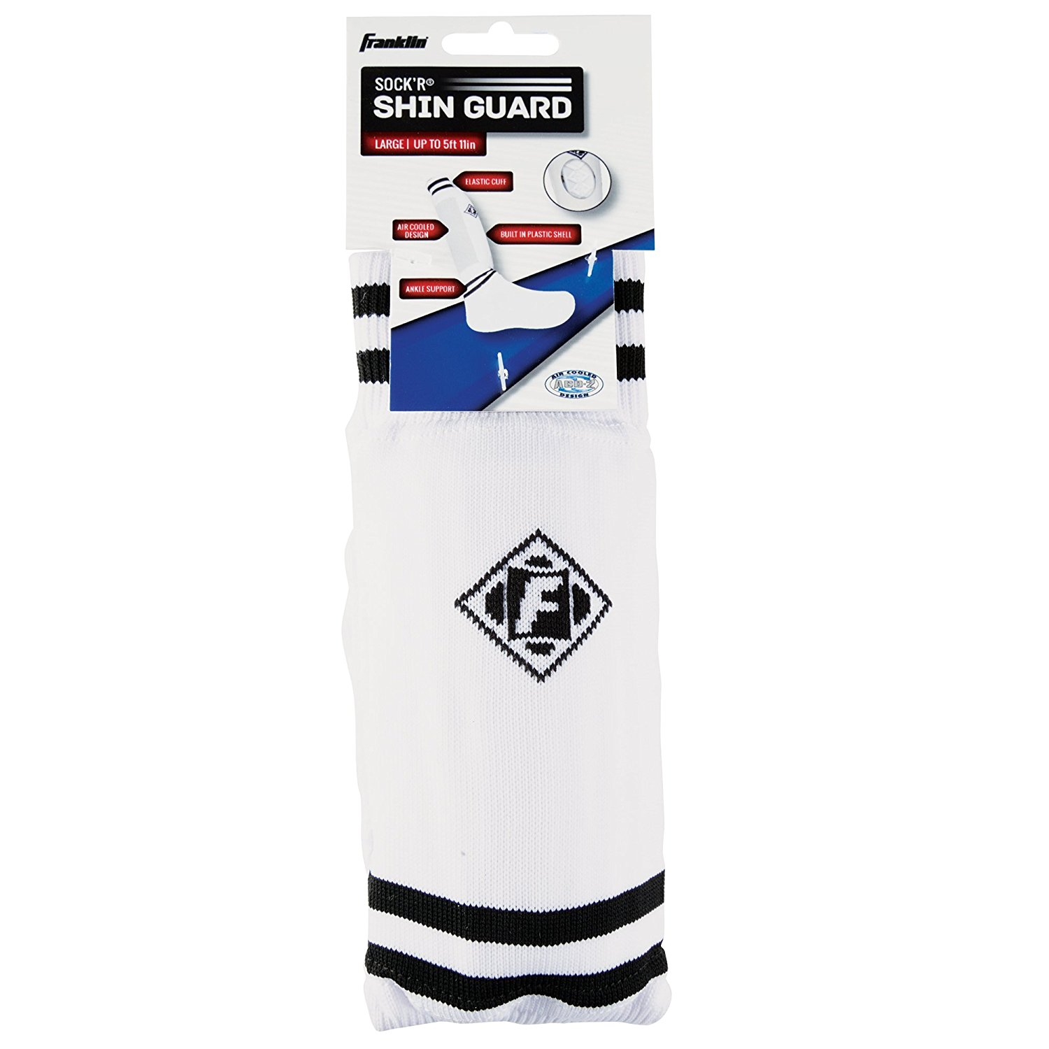 """NEW Franklin Sock/'R Shinguards Built In Plastic Shell Small Up To 4/'7/"""" Black"""