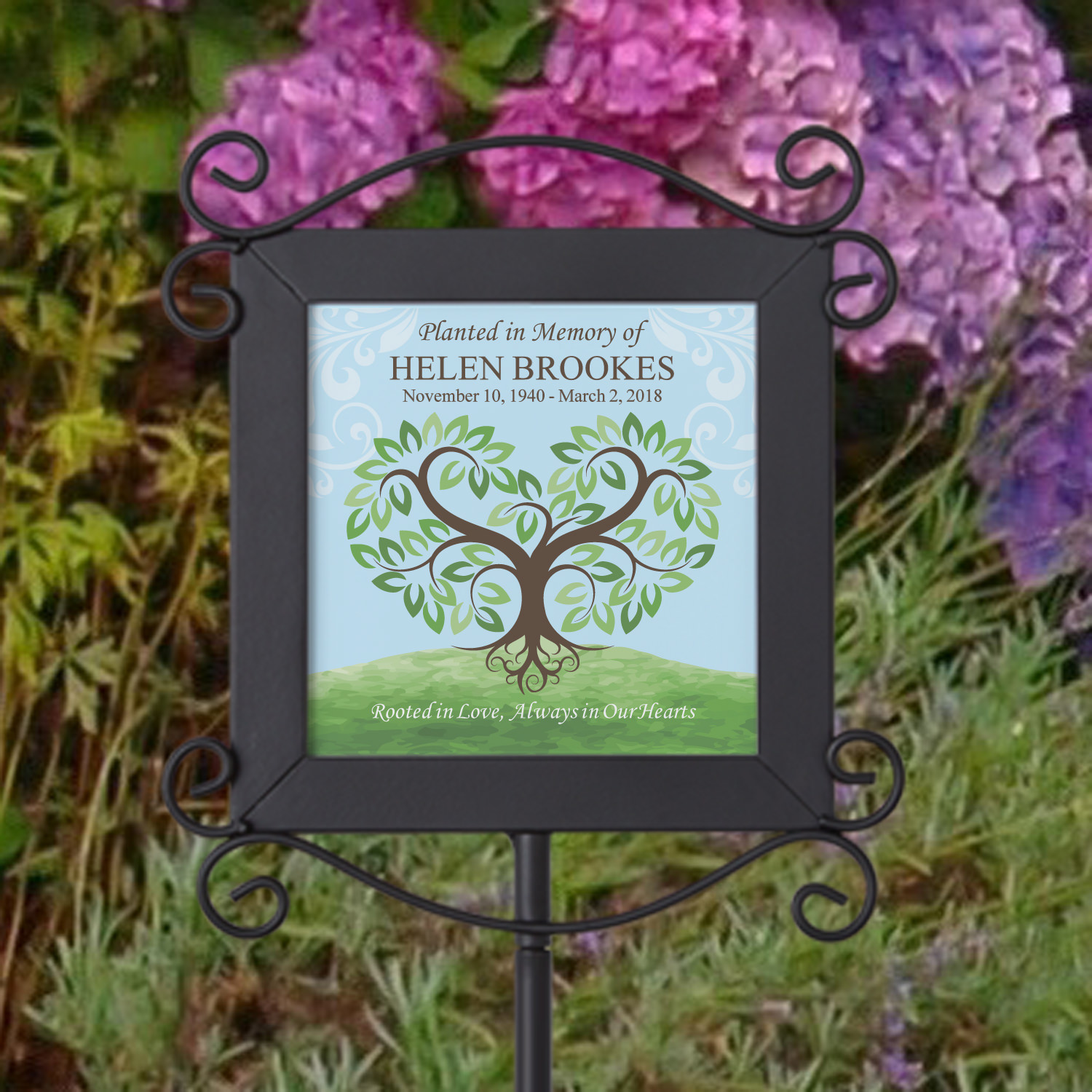 Personalized Rooted in Love Memorial Garden Stake