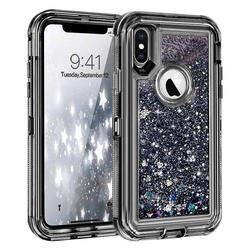 Apple iPhone XR Tough Defender Sparkling Liquid Glitter Heart Case Cover Black
