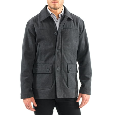 Large Classic Wool - Alpine Swiss Wyat Mens Wool Blend Classic Barn Coat Cargo Pocket Military Jacket