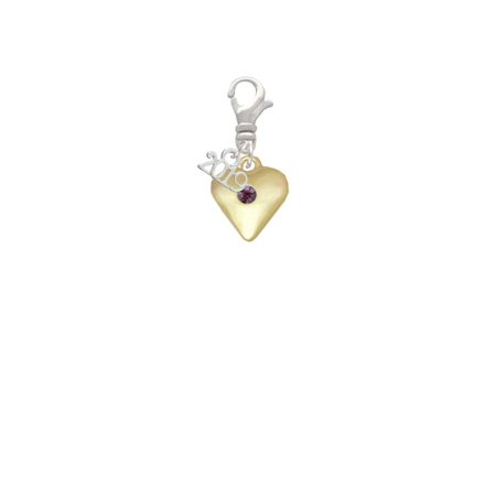 Goldtone Large February - Purple Crystal Heart - 2019 Clip on - Purple Heart Charm