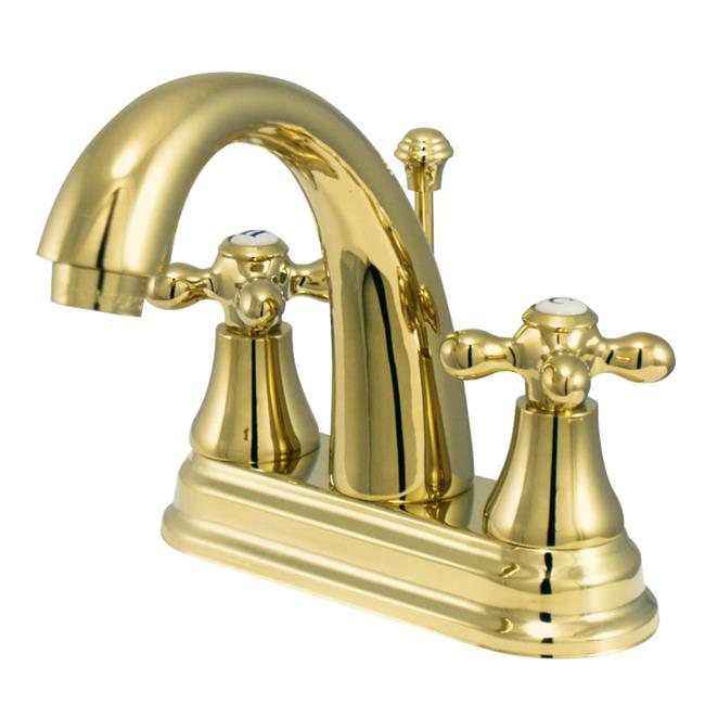 Kingston Brass KS7612AX 4 in. English Vintage Centerset Lavatory Faucet with Cross Handle, Polished Brass - image 1 de 1