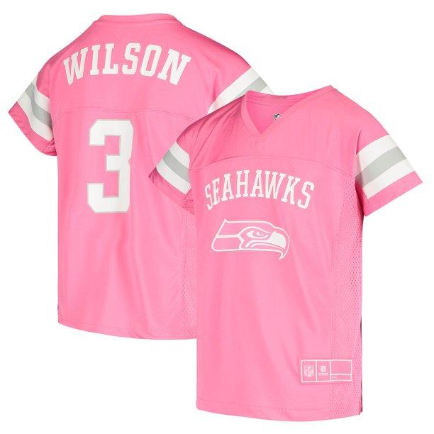 Russell Wilson Seattle Seahawks Girls Youth Fashion Fan Gear V-Neck T-Shirt - Pink