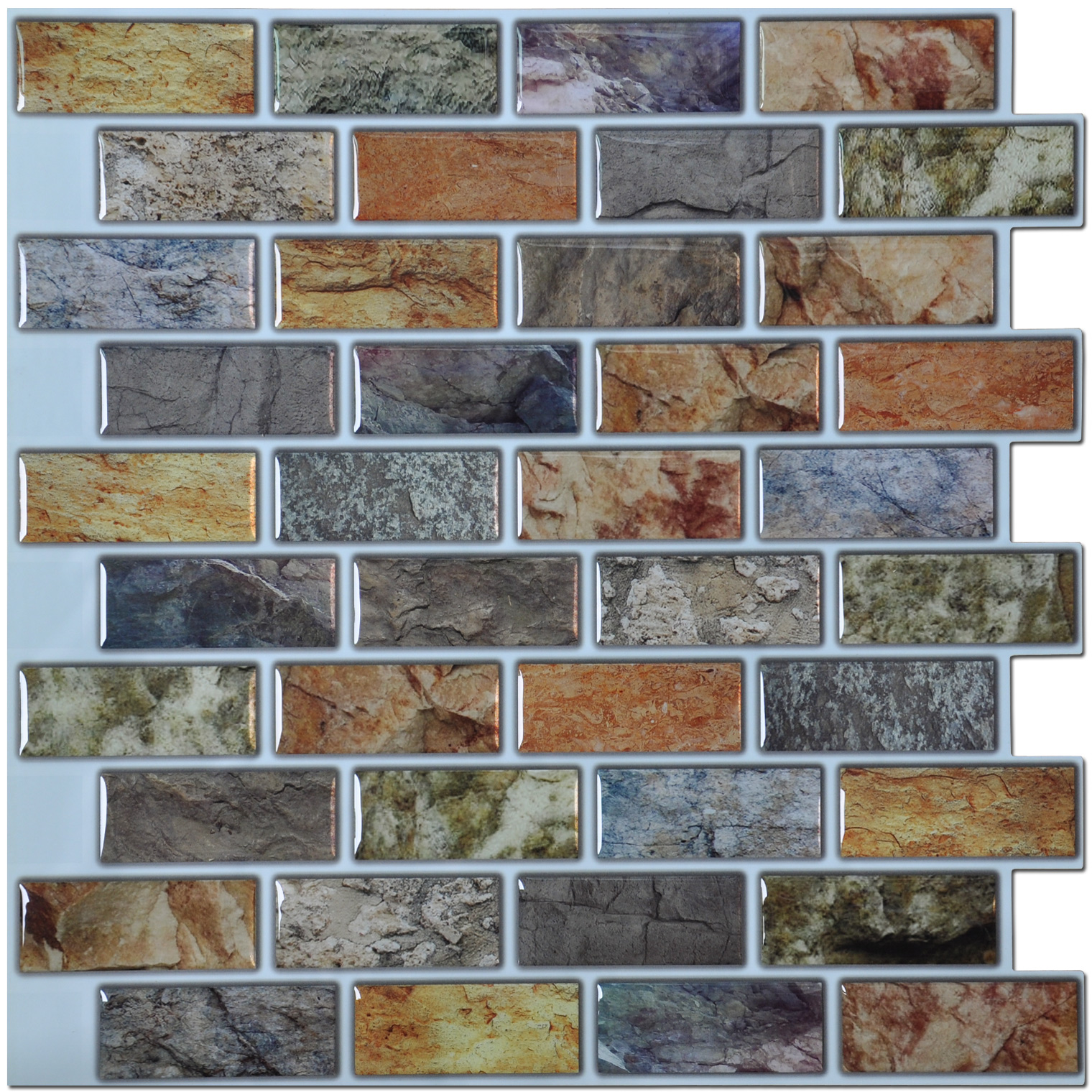 "Art3d Backsplash Peel N Stick Tiles Kitchen / Bathroom Backsplash Tiles 12"" x 12"" Pack of 6"