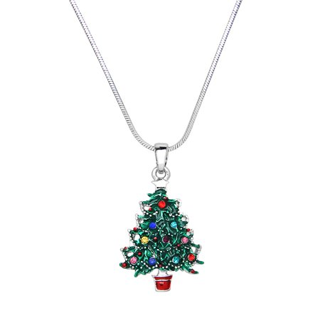 Christmas Tree Pendant Necklace Rhinestone Crystal Rhodium High Polished J0322 (Christmas Necklaces)