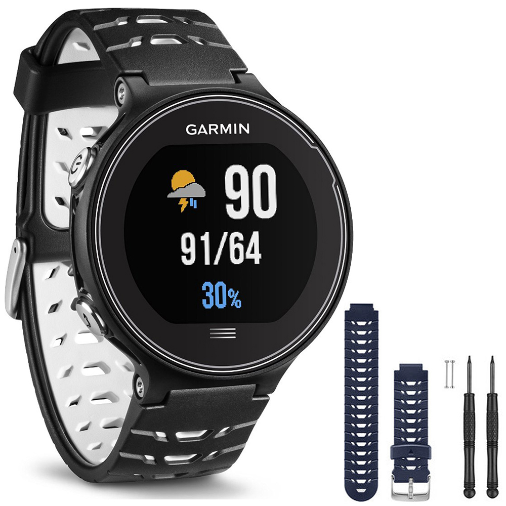 Garmin Forerunner 630 GPS Smartwatch - Black and White - Blue Watch Band Bundle includes Forerunner 630 GPS and Midnight Blue Watch Band