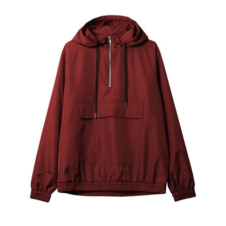 Mens Half Zip Windbreaker Anorak Jacket Hooded Pullover
