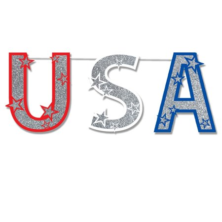 Club Pack of 12 Patriotic Red White and Blue Glittered USA  Party Streamers 4.5' (Red And White Streamers)