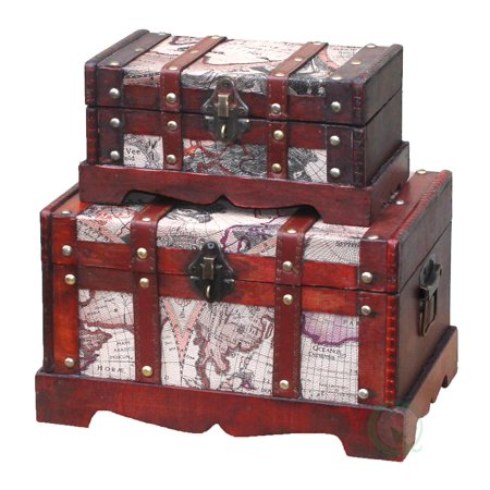 Wooden Crane Set (Vintiquewise® Old World Map Wooden Trunk/Box, Set of 2)