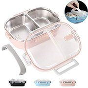 Lunch Bento Box Stainless Steel Square Food Storage Container Leakproof with Sealed Compartment for Woman Man Work (Pink 2 Sealed Compartment)