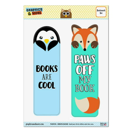 Penguin Books are Cool and Fox Paws Off My Book Set of 2 Bookmarks - Cool Halloween Bookmarks