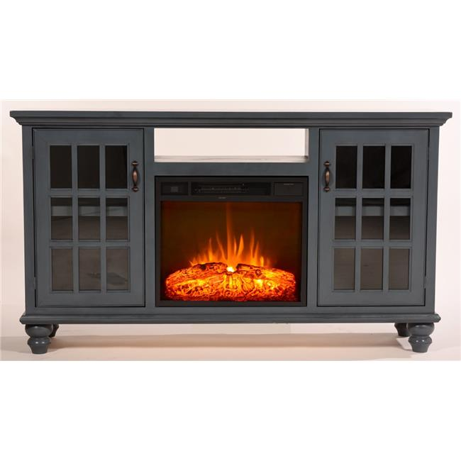 Eagle Furniture FP371765MB 65 in. Modern Country Electric Fireplace TV Console, Midnight