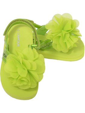 b071f49431dd Product Image Green Sequin Strap Flower Flip Flop Sandals Toddler Girls 5-10