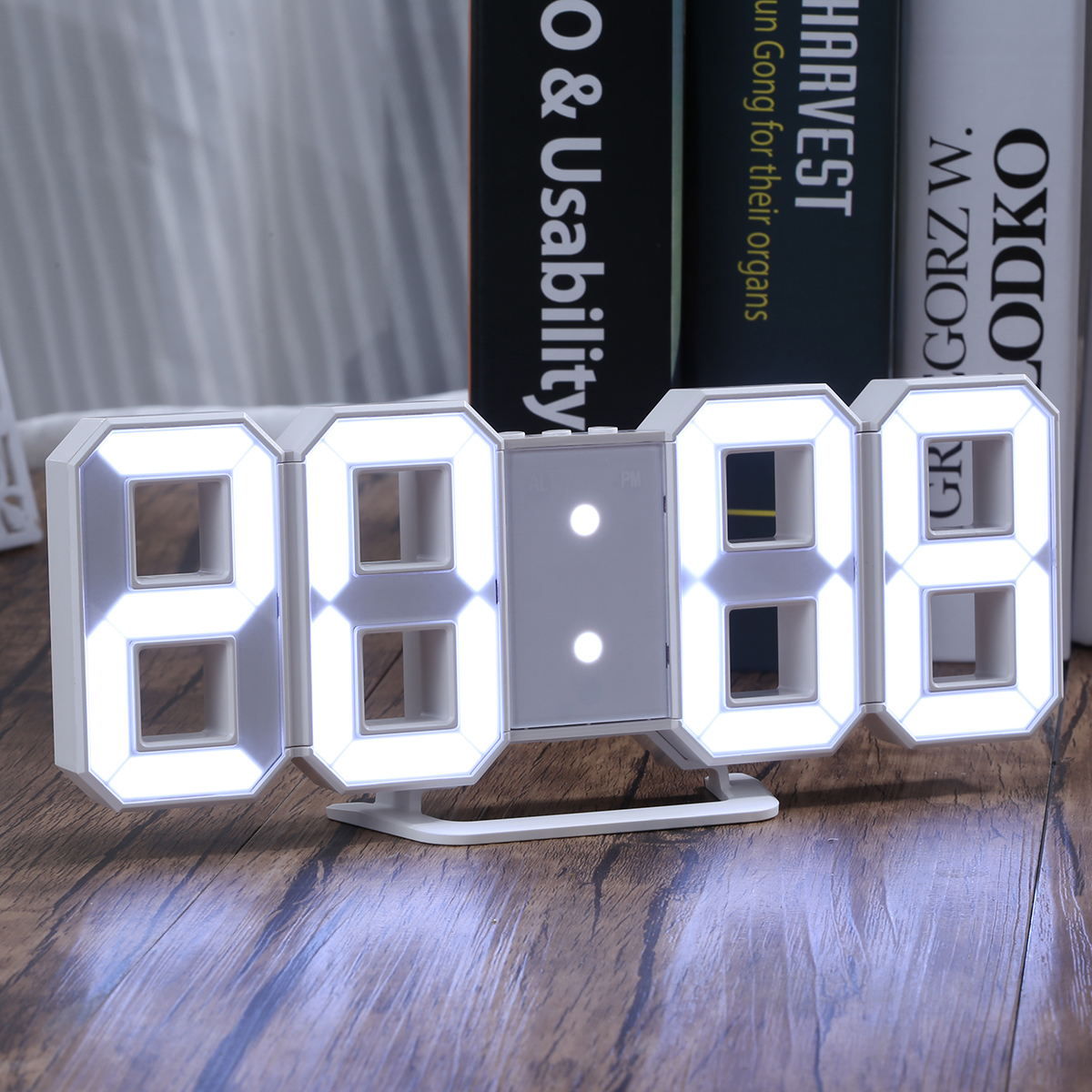 "NEW 3D LED Remote Control Digital Wall Alarm Countdown Clock (White) 6"" Numbers White"
