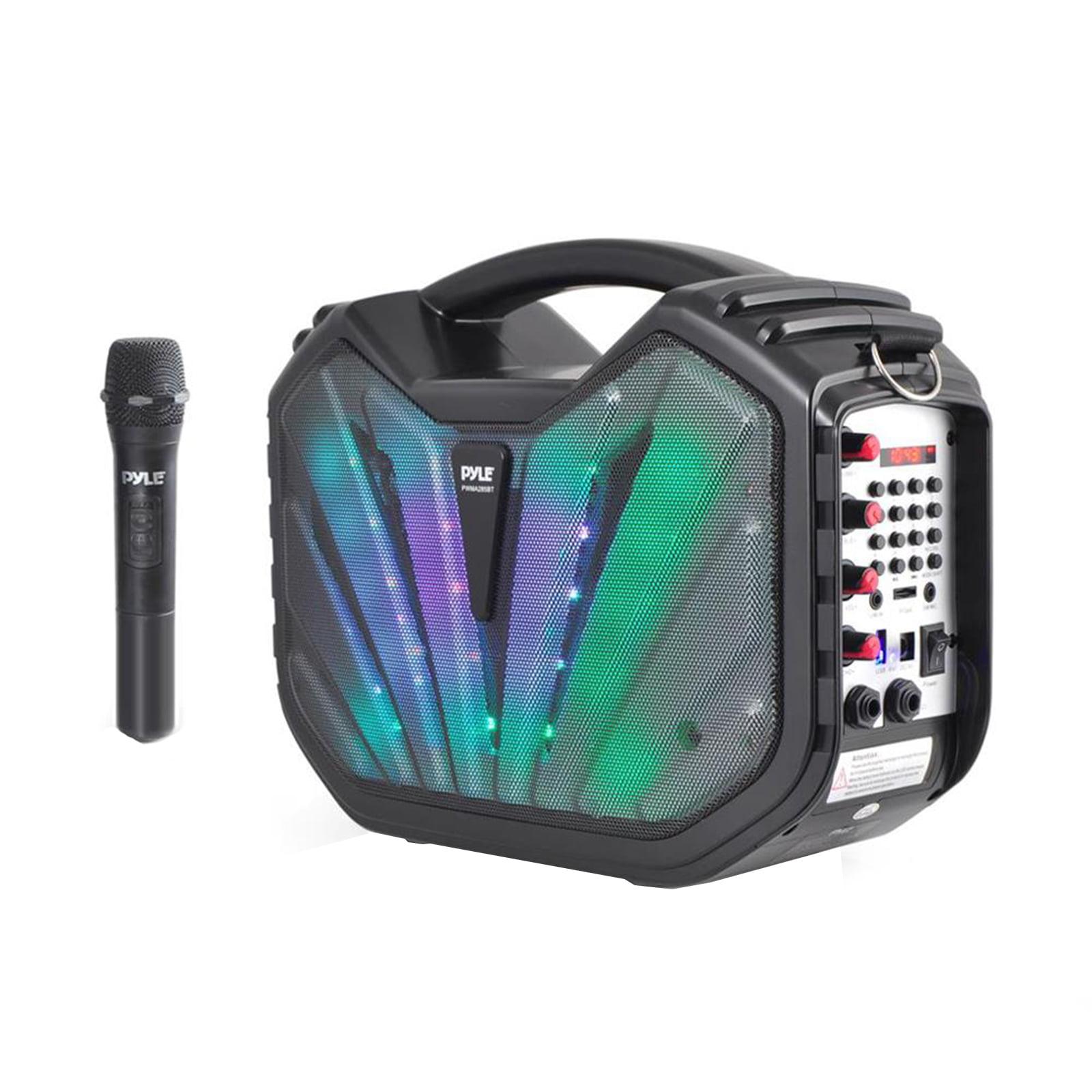 Portable BT Karaoke Speaker System, Flashing DJ Lights, Built-in Battery, Microphone, Recording Ability, MP3/USB/SD/FM Radio