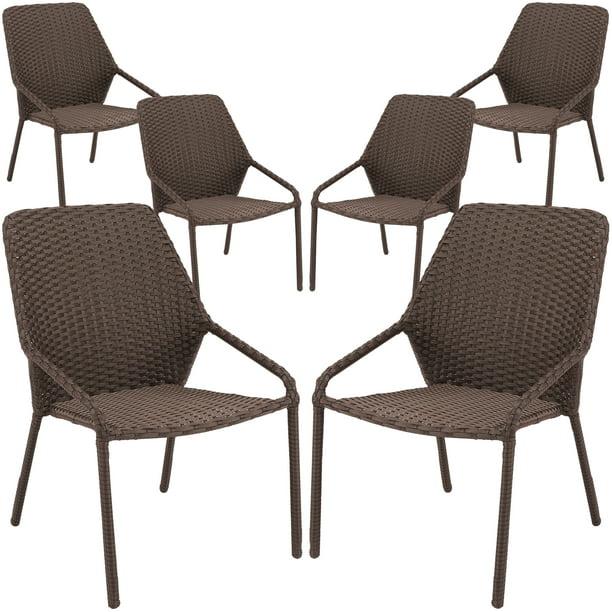 Mainstays Danella Outdoor Patio Wicker Dining Chairs Set Of 6 Walmart Com Walmart Com
