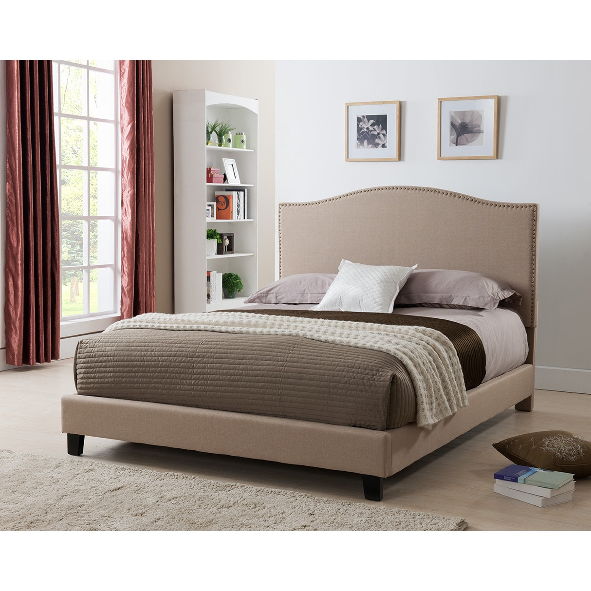 United Furniture Express Laurence Platform Bed with Nail-head Headboard