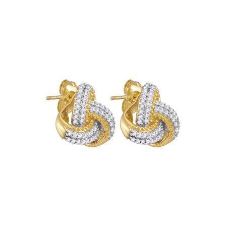 10kt Yellow Gold Womens Round Diamond Celtic Knot Stud Earrings 1/4 Cttw White Gold Celtic Love Knots
