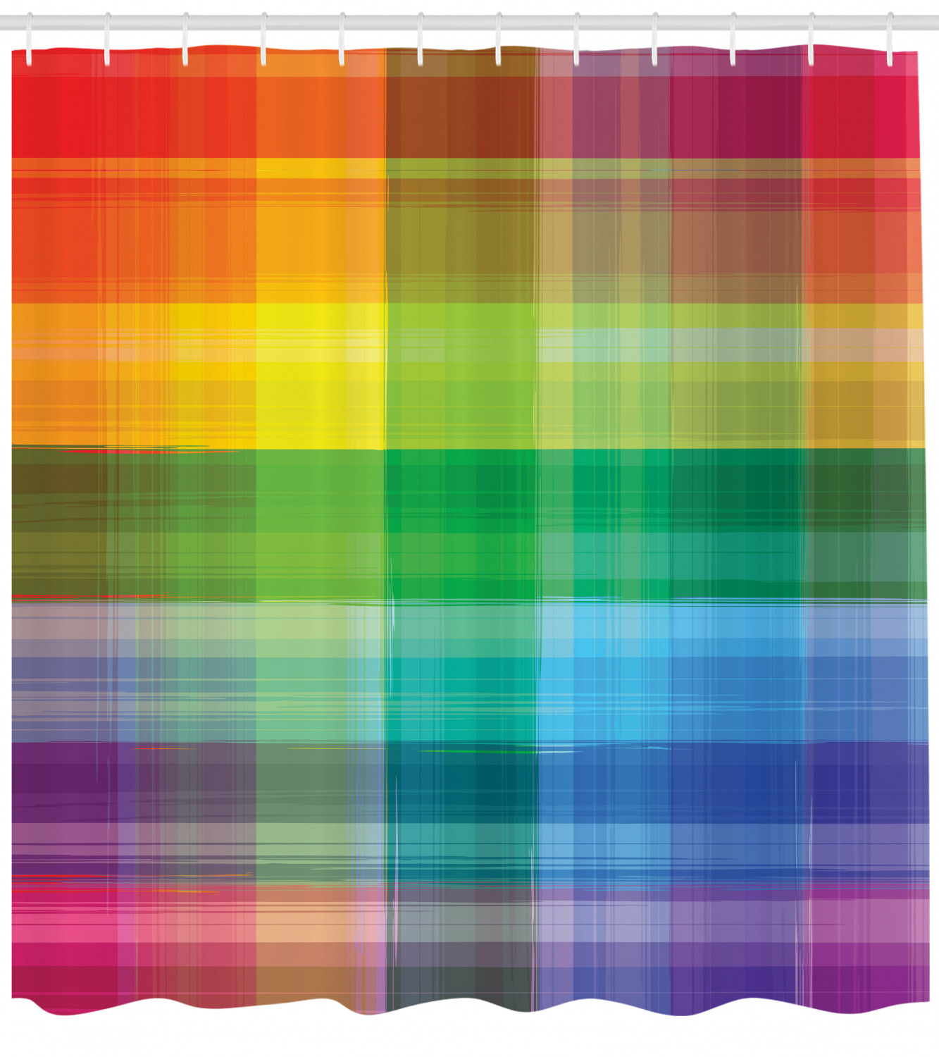 Vintage Rainbow Shower Curtain Retro Plaid Design Checkered Squares Rainbow Colored Geometric Pattern Fabric Bathroom Set With Hooks Multicolor By