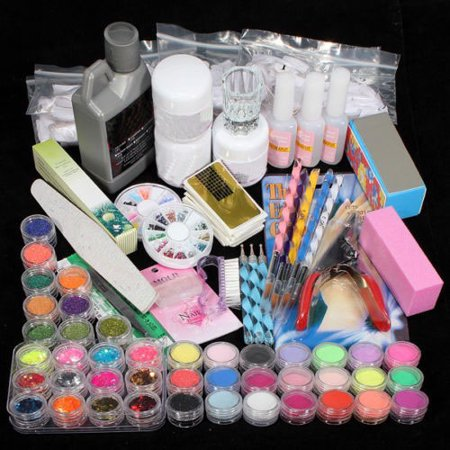 iMeshbean Acrylic Nail Art Tips Powder Liquid Brush Glitter Clipper Primer File Set Kit USA](Nails For String Art)