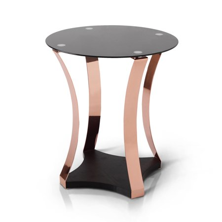 Furniture Of America Amelia Round Coffee Table Rose Gold Black