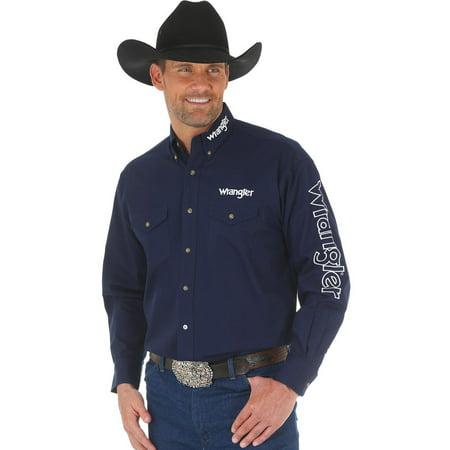 Wrangler Men's Navy Logo Western Shirt - -