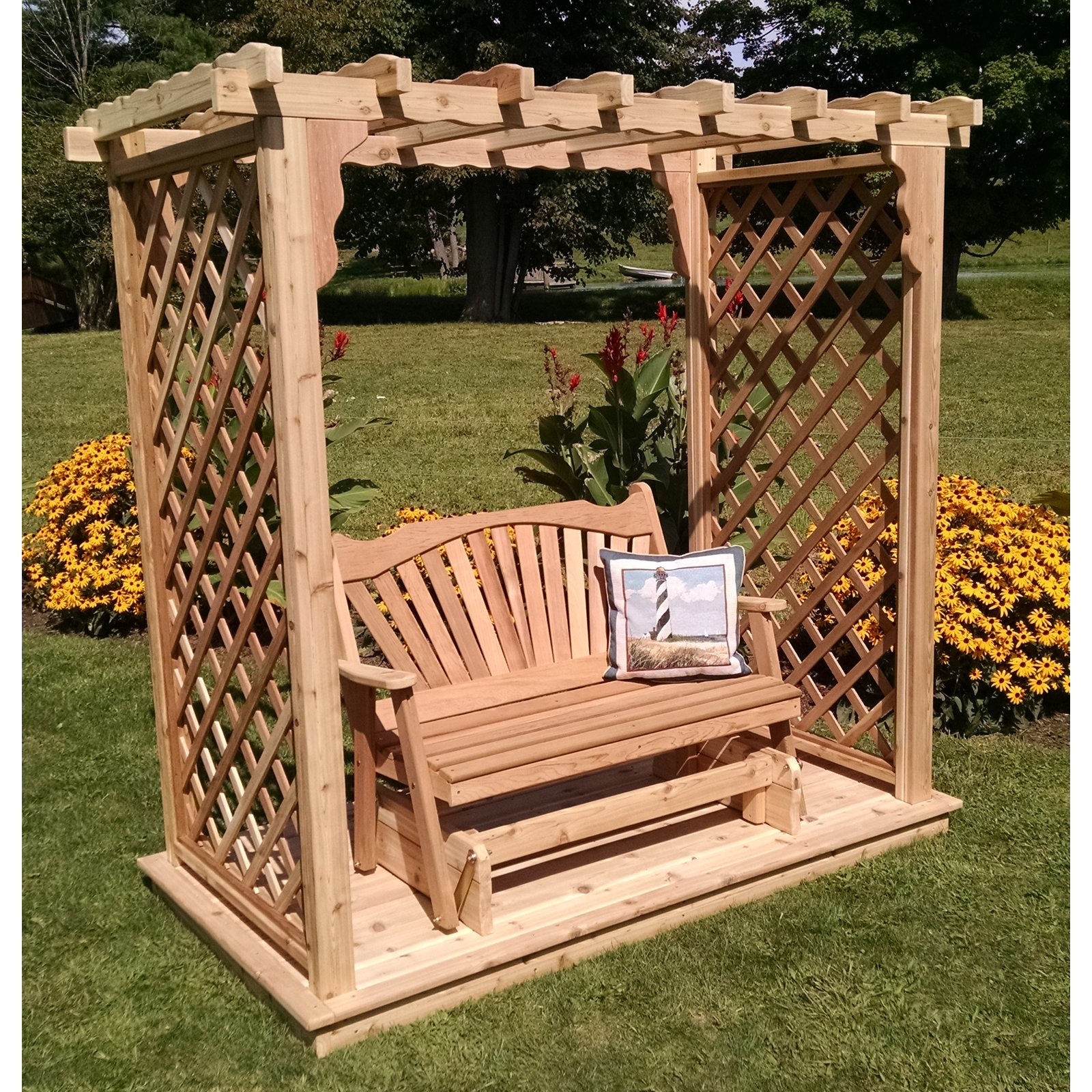 A & L Furniture Covington 7 ft. High Cedar Arbor with Deck and Glider