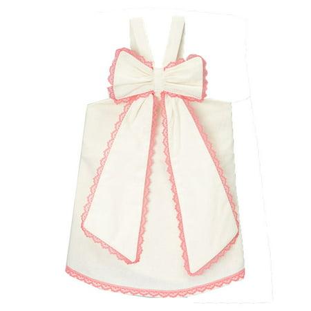 Scalloped Trim Top (Little Girls Ivory Fuchsia Scalloped Lace Trim Bow Accent Sleeveless Shirt 12M-6 )