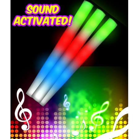 Fun Central C521 LED Light Up Sound Activated Foam Stick Baton - Multicolor (Led Foam Sticks)